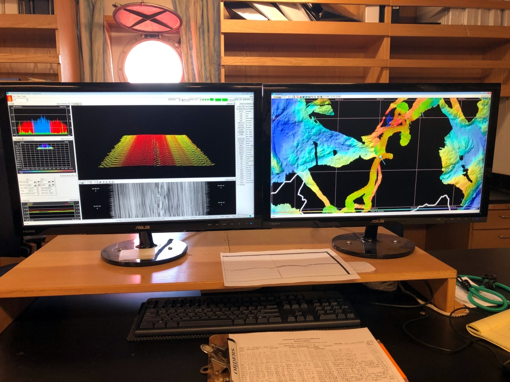 Caption: Images of the sea floor on multibeam echosounder aboard the Nathaniel B. Palmer in Antarctica Credit: Jeff Goodell