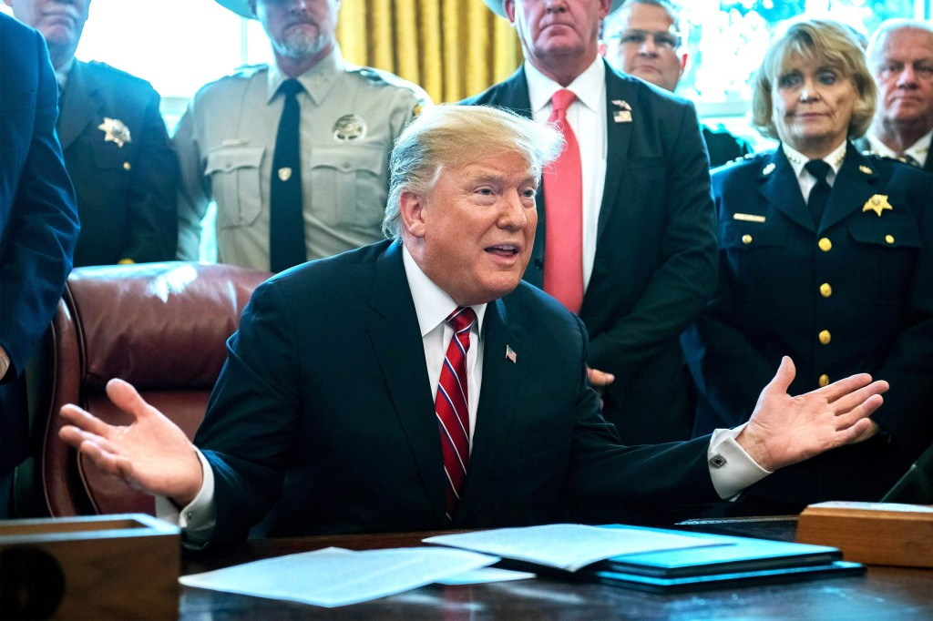 Donald Trump makes a statement prior to signing the veto statement of the bill passed by Congress to to block the national emergency he declared earlier to fund the long-delayed southern border wall in the Oval Office of the White House in Washington, DC., March 15, 2019.