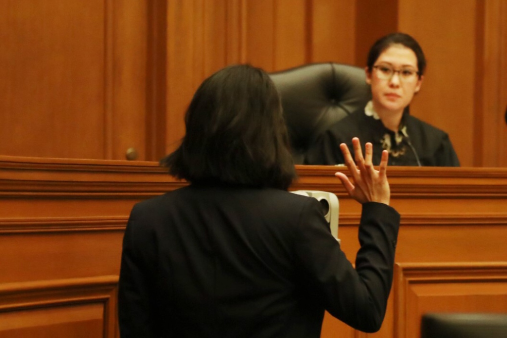 Kristin Villanueva and Ruthie Ann Miles in a scene from Waterwells THE COURTROOM.