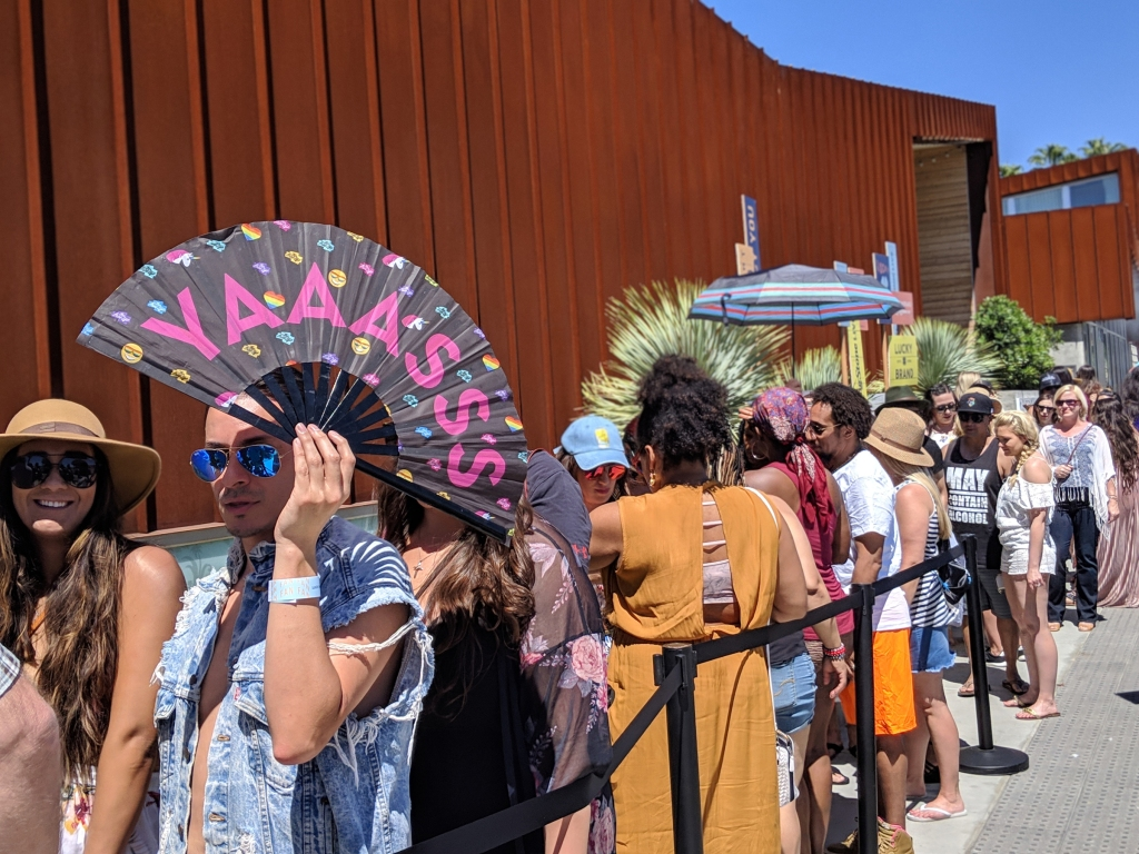 Guests line up at the Arrive Hotel for Rolling Stone's inaugural Live: Palm Springs event Captured on Google Pixel 3