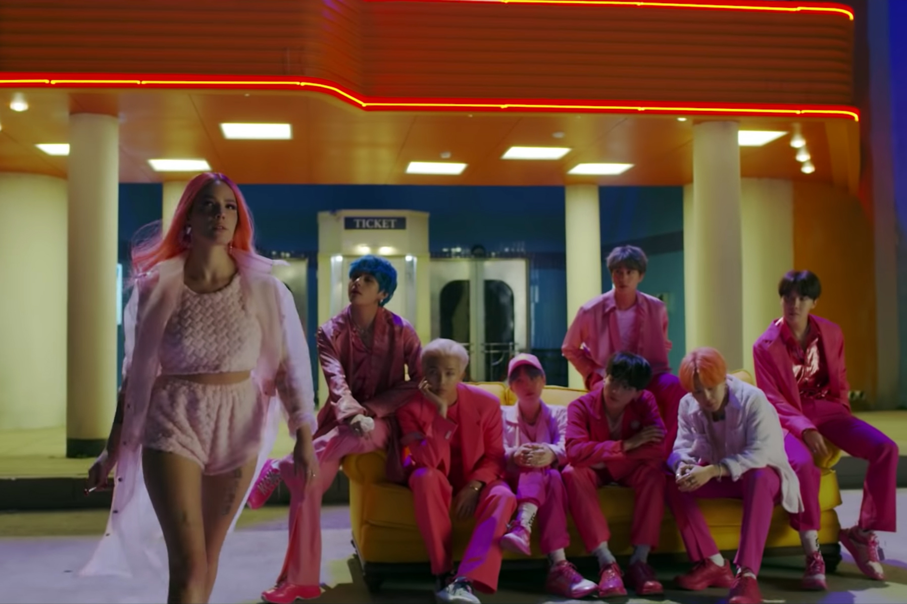 "Watch BTS and Halsey Go to the Movies in ""Boy With Luv"