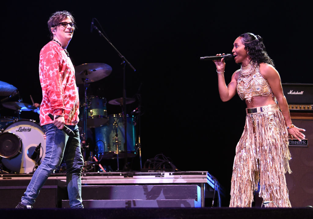 INDIO, CA - APRIL 13:   Rivers Cuomo of Weezer and Rozonda 'Chilli' Thomas of TLC perform at Coachella Stage during the 2019 Coachella Valley Music And Arts Festival on April 13, 2019 in Indio, California.  (Photo by Kevin Winter/Getty Images for Coachella)