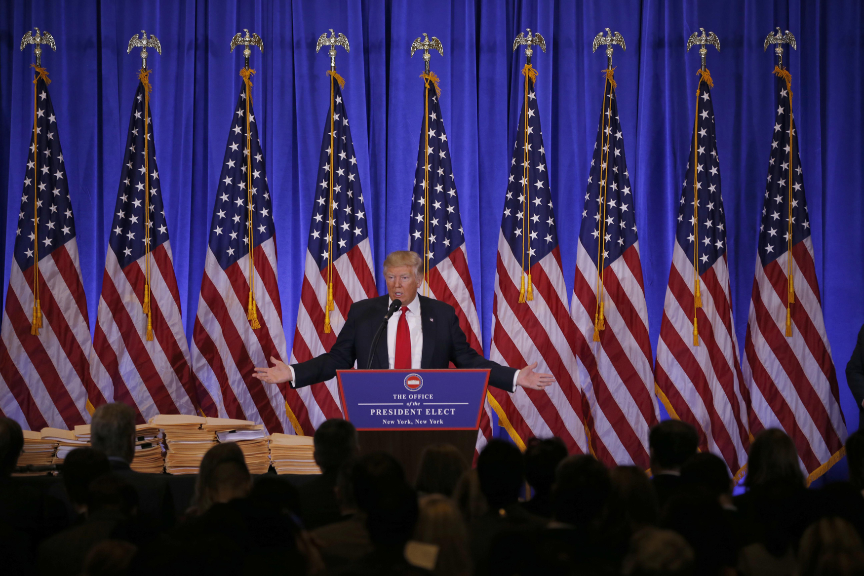 NEW YORK, Jan. 11, 2017  -- U.S. President-elect Donald Trump speaks during a news conference in New York, the United States, on Jan. 11, 2017. U.S. President-elect Donald Trump met the press Wednesday for the first news conference since the election. (Xinhua/Gary Hershorn via Getty Images)