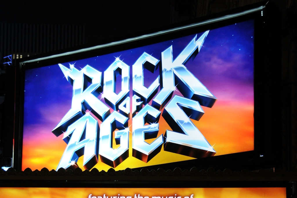 "NEW YORK - APRIL 07: A general view of the marquee at the ""Rock of Ages"" Broadway opening night at the Brooks Atkinson Theatre on April 7, 2009 in New York City. (Photo by Bryan Bedder/Getty Images)"
