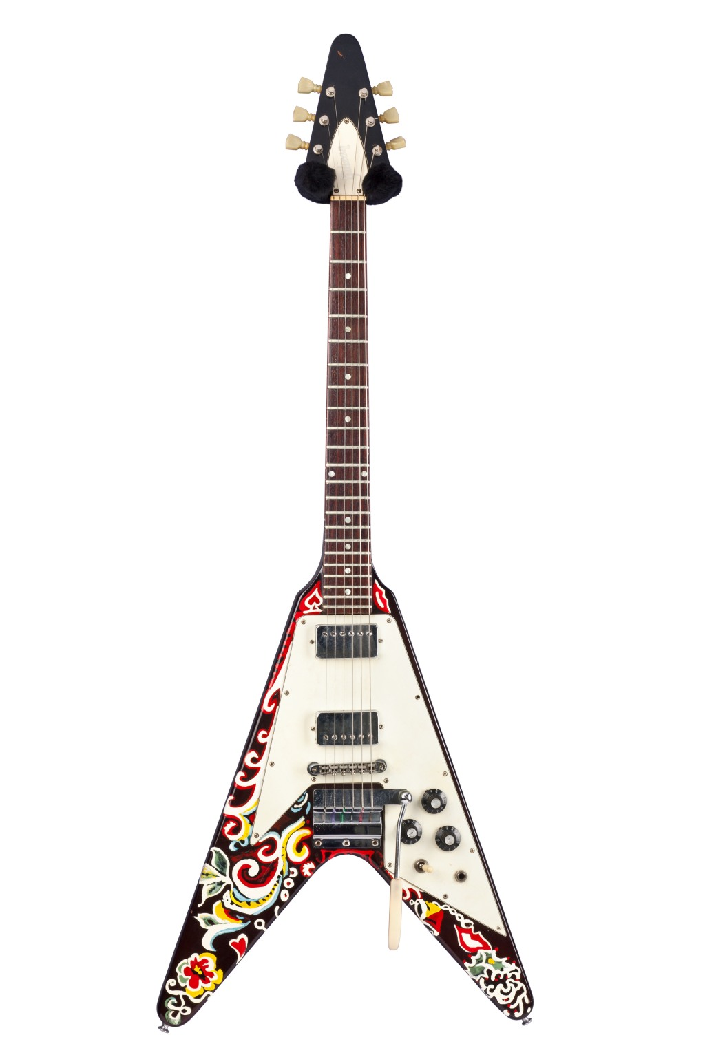"""One of Jimi Hendrix's main guitars between 1967 and 1969, this Gibson is said to be heard on Electric Ladyland, especially on the solo during """"All Along the Watchtower."""" Hendrix used nail polish to paint the guitar himself."""