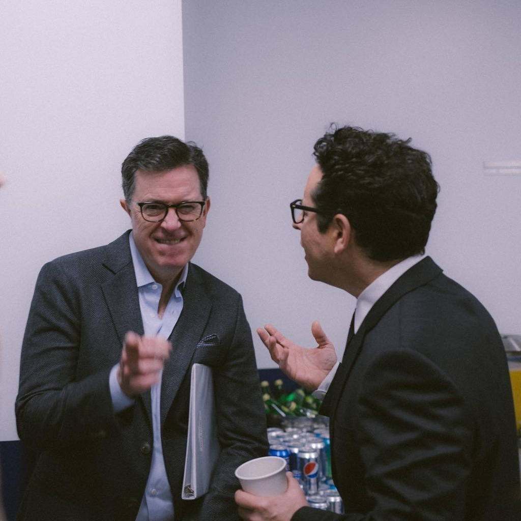 Stephen Colbert, who moderated the Episode IX panel, chats with J.J. Abrams backstage