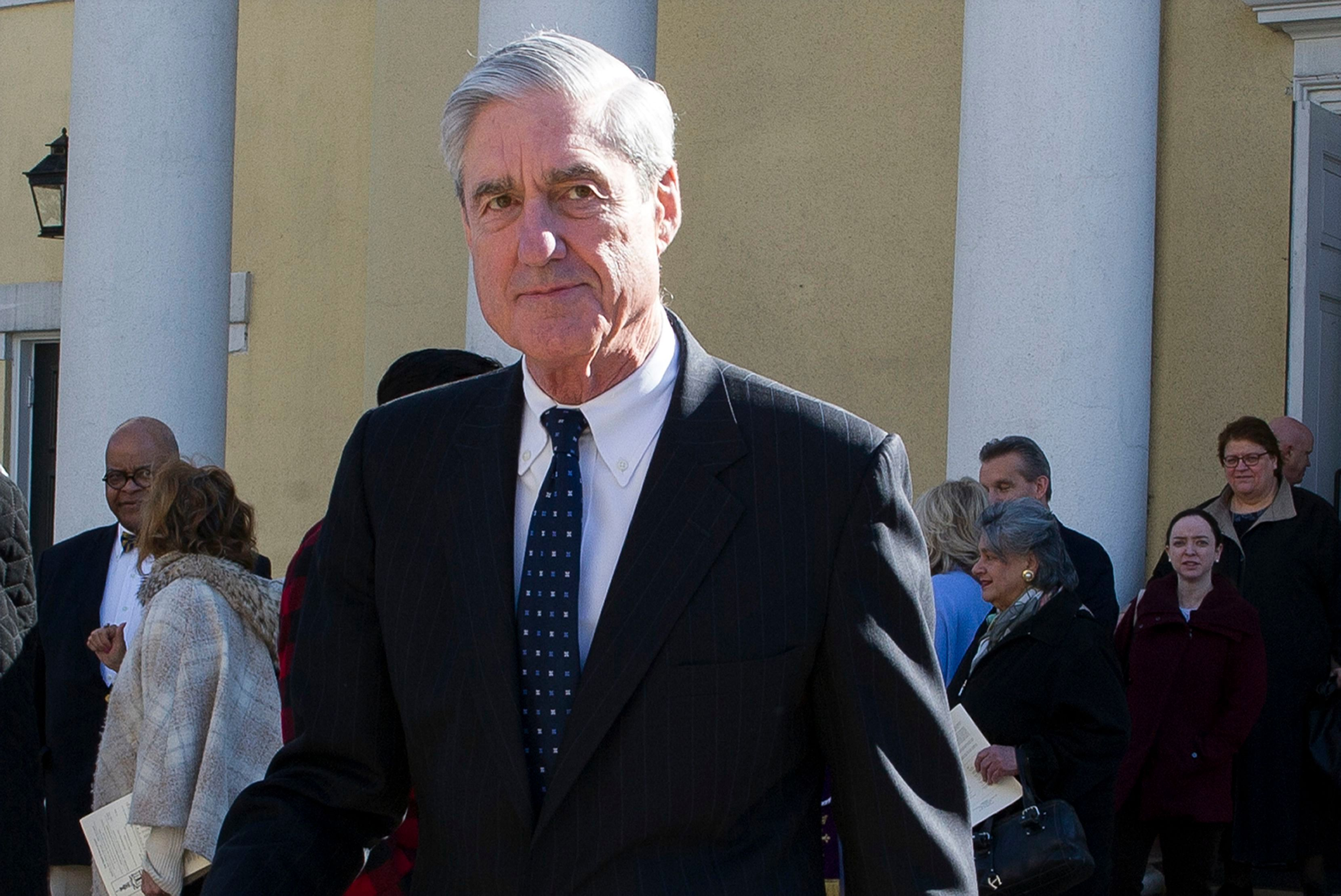 Special counsel Robert Mueller departs St. John's Episcopal Church, across from the White House in Washington. Democrats say they want