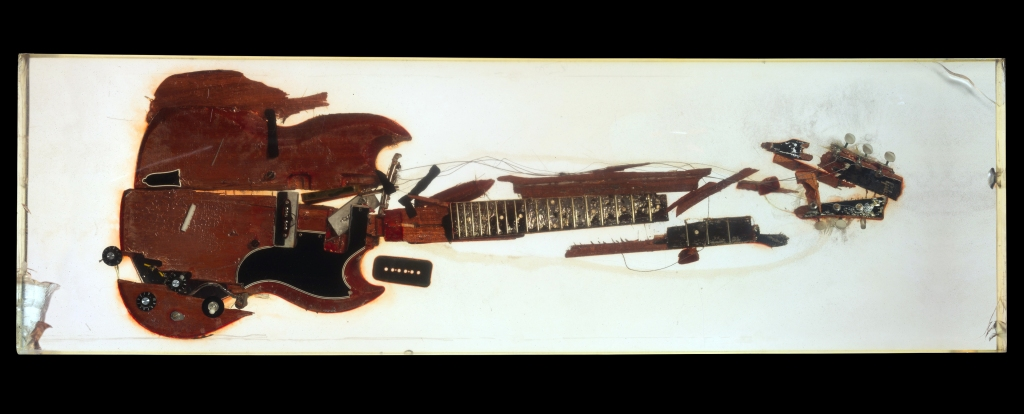 """During a 1973 photo shoot with Annie Leibovitz for Rolling Stone, Pete Townshend returned to his days studying """"Auto-Destructive Art"""" at Ealing Art College in England: He trashed his Gibson as part of the article """"How to Launch Your Guitar in 17 Steps."""" This sculpture, constructed from its remains, has been on display in the Rolling Stone office building for decades."""