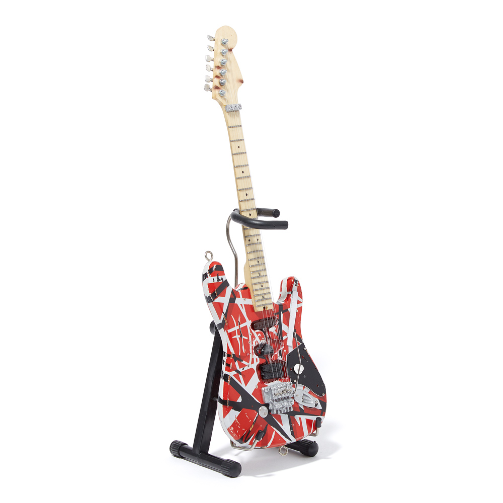 """The original version of Eddie Van Halen's hand-constructed guitar — heard most spectacularly on """"Eruption"""" — had a Fender-style body and neck and a pickup from a Gibson guitar. Initially spray-painted white in 1975, it was repainted with red Schwinn bike paint four years later. He used it until 1983."""