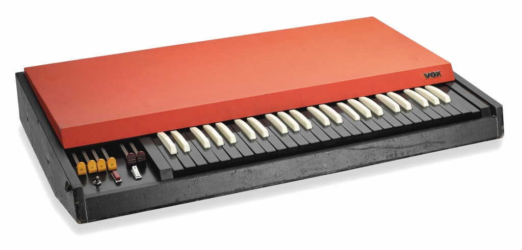 """Built around 1964 or 1965 and owned by Ray Manzarek, this 40-pound """"combo organ"""" Vox Continental became an integral part of the Doors' sound. In a reversal of typical keyboard construction, Manzarek switched the colors of the black and white keys."""