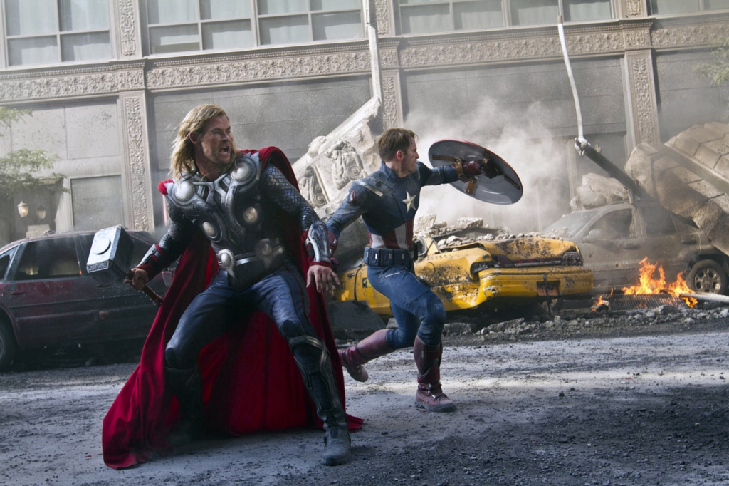 Editorial use only. No book cover usage.Mandatory Credit: Photo by Moviestore/REX/Shutterstock (1586575c) The Avengers - Chris Hemsworth as Thor and Chris Evans as Captain America The Avengers - 2012