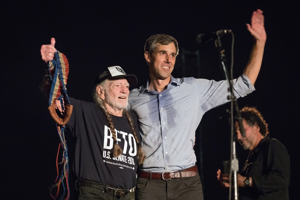 AUSTIN, TX - SEPTEMBER 29: Singer-songwriter Willie Nelson and Beto O'Rourke greet each other during the 'Turn Out for Texas Rally' at Auditorium Shores on September 29, 2018 in Austin, Texas. (Photo by Rick Kern/WireImage)