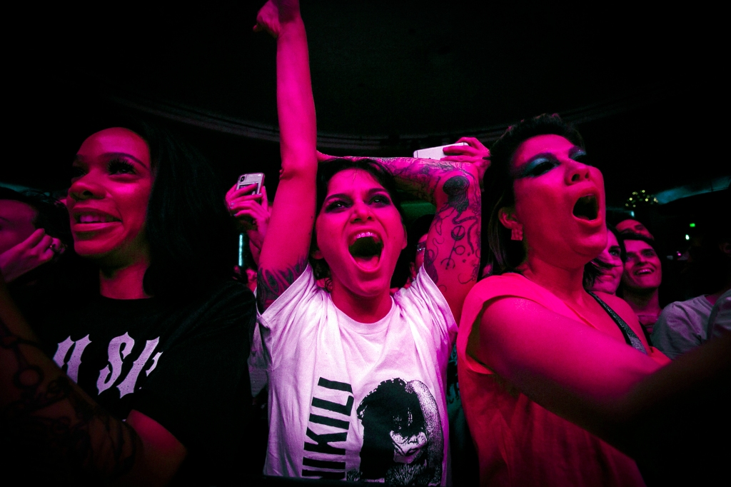 Fans of Bikini Kill at the Hollywood Palladium on April 25th, 2019.
