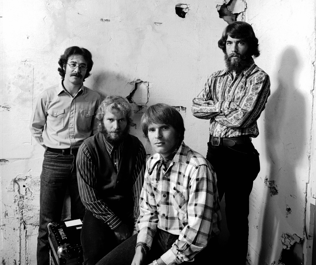 BERKELEY, CA - MAY 23: Rock group Creedence Clearwater Revival (L-R Stu Cook, Tom Fogerty, John Fogerty, and Doug Clifford) pose for a portrait during the cover session for their album 'Pendulum' at the Fantasy Records studio on May 23, 1970 in Berkeley, California. (Photo by Ed Caraeff/Getty Images)