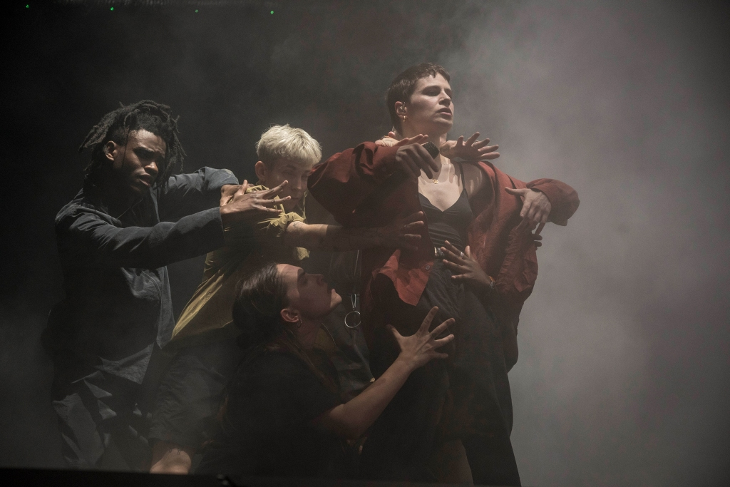 Christine and the Queens performs on April 13, 2019.
