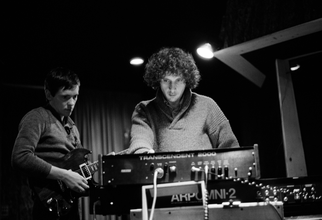 Martin Hannett, Factory producer, with (left) Bernard Sumner ('Barney') of Joy Division, at Pennine Sound Studio, Oldham. January 1980.
