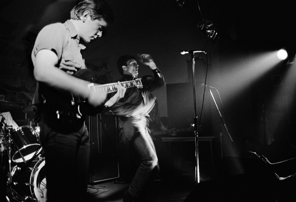 Joy Division on stage at Osbourne Club 'Factory' gig, 7 February 1980