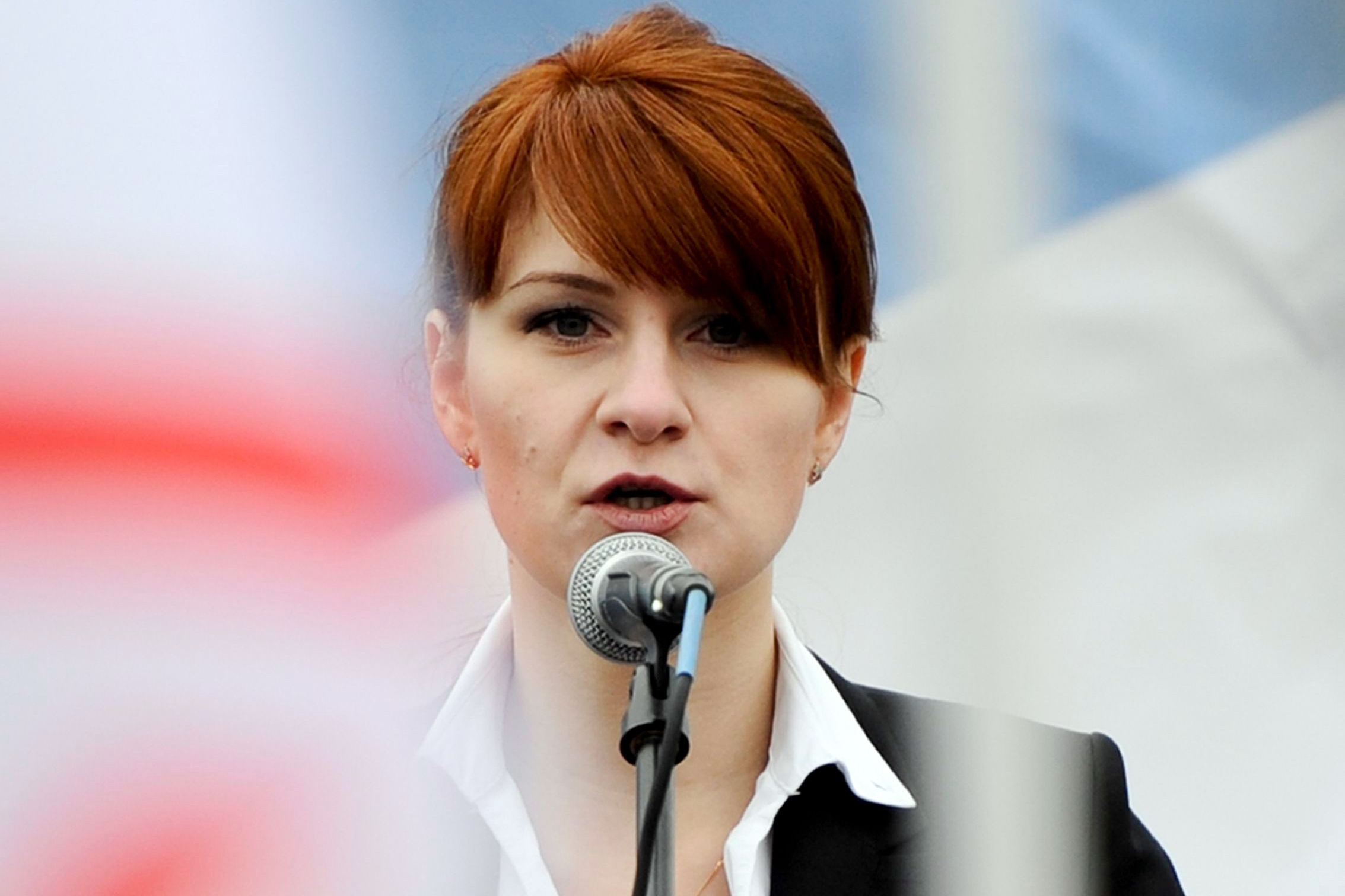 On, Maria Butina, leader of a pro-gun organization in Russia, speaks to a crowd during a rally in support of legalizing the possession of handguns in Moscow, Russia. Butina, a 29-year-old gun-rights activist, served as a covert Russian agent while living in Washington, gathering intelligence on American officials and political organizations and working to establish back-channel lines of communications for the Kremlin, federal prosecutors charged Monday, July 16, 2018Trump Russia Probe, Moscow, Russian Federation - 21 Apr 2013MARIIA