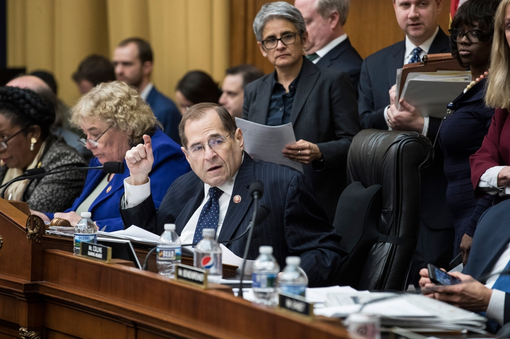 Rep. Jerry Nadler (D-N.Y.) chairs a House Judiciary Committee hearing regarding the reauthorization of the Violence Against Women Act, on Capitol Hill in Washington, March 13, 2019. (Sarah Silbiger/The New York Times)