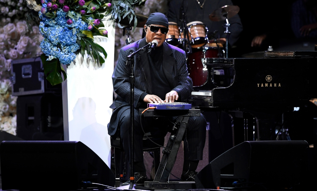 ATTENTION EDITORS: All images taken by Getty Images inside the Staples Center at Nipsey Hussle's Celebration of Life have been reviewed and approved for distribution by Atlantic RecordsMandatory Credit: Photo by KEVORK DJANSEZIAN/POOL/EPA-EFE/REX/Shutterstock (10201863u) Stevie Wonder performs onstage during Nipsey Hussle's Celebration of Life at the Staples Center in Los Angeles, California, USA, 11 April 2019. Nipsey Hussle was shot and killed in front of his store, The Marathon Clothing, on March 31, 2019 in Los Angeles. Nipsey Hussle Celebration of Life ceremony in Los Angeles, USA - 11 Apr 2019