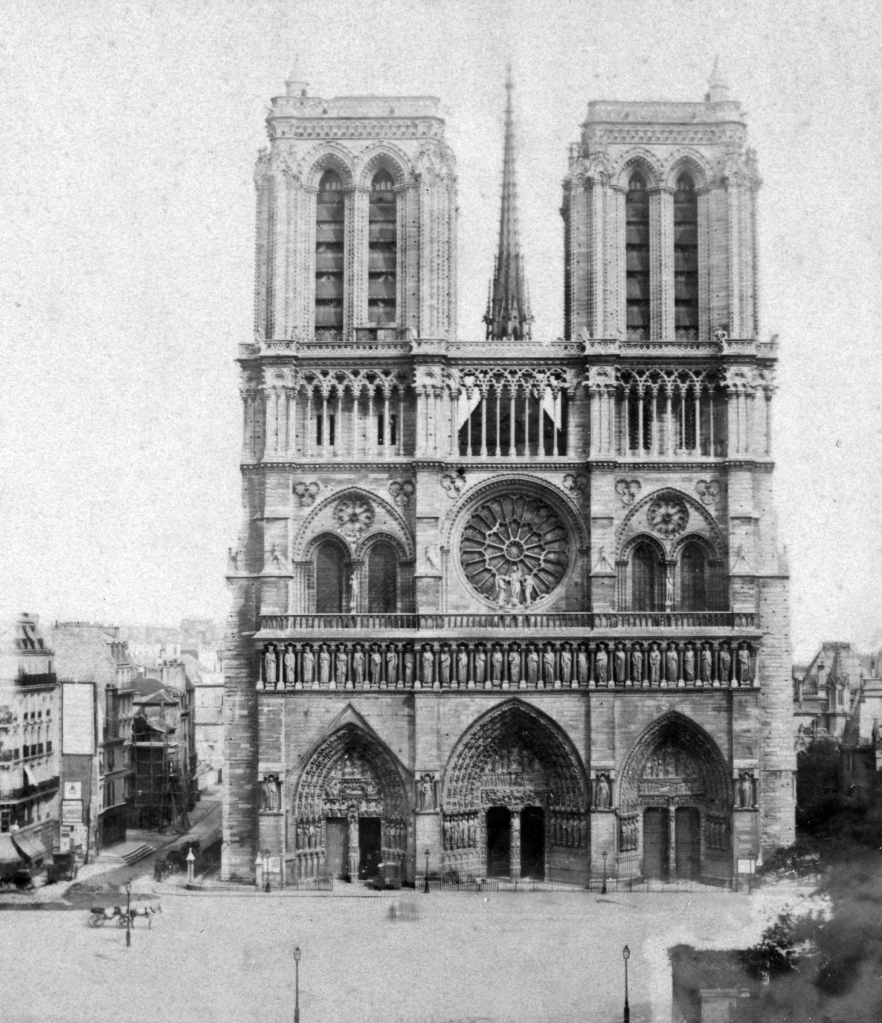 Notre Dame de Paris, France, late 19th or early 20th century. The Gothic Cathedral of Notre Dame de Paris was begun in the 12th century. The western facade was built between c1200 and 1225. Stereoscopic card. Detail. (Photo by The Print Collector/Print Collector/Getty Images)