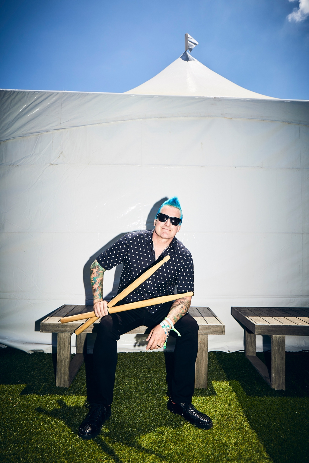 Tre Cool backstage at BottleRock in Napa Valley, CA on May 25th, 2019.