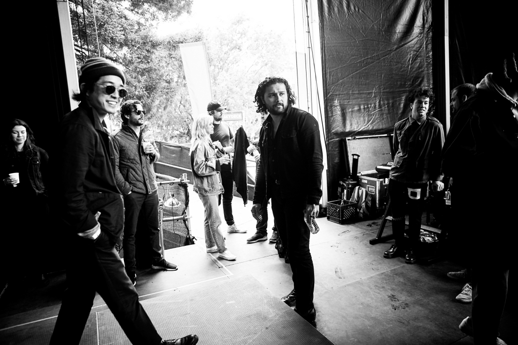 Gang of Youths prepare to hit the stage at BottleRock in Napa Valley, CA on May 26th, 2019.