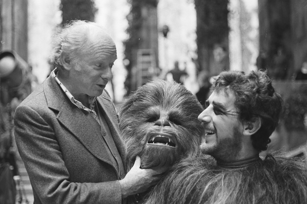 Peter Mayhew on the set of 1977's 'Star Wars Episode IV: A New Hope.'