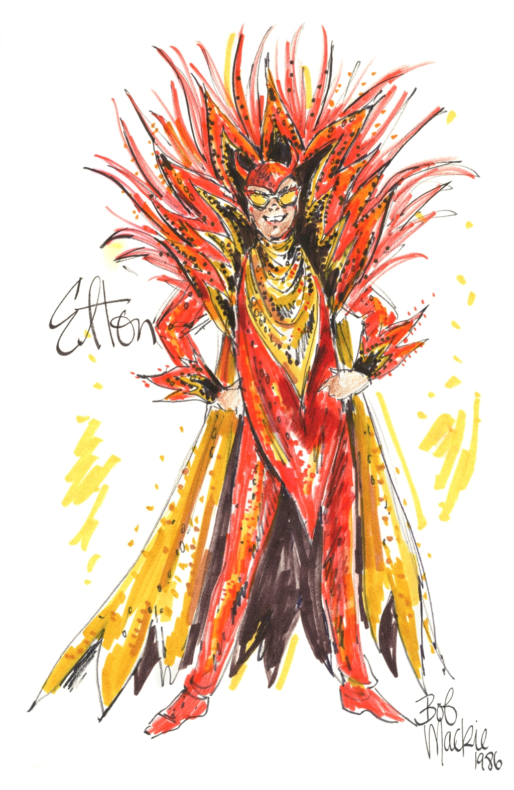 """""""I also did one of him as an angel with these huge, huge sequin feather wings. I noticed in the new movie Rocketman, they do a 'devil' on him as well. It's not exactly the same, but it's certainly inspired by this one."""""""
