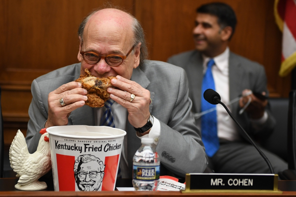 Rep. Steve Cohen (D-TN) eats chicken during a hearing before the House Judiciary Committee.