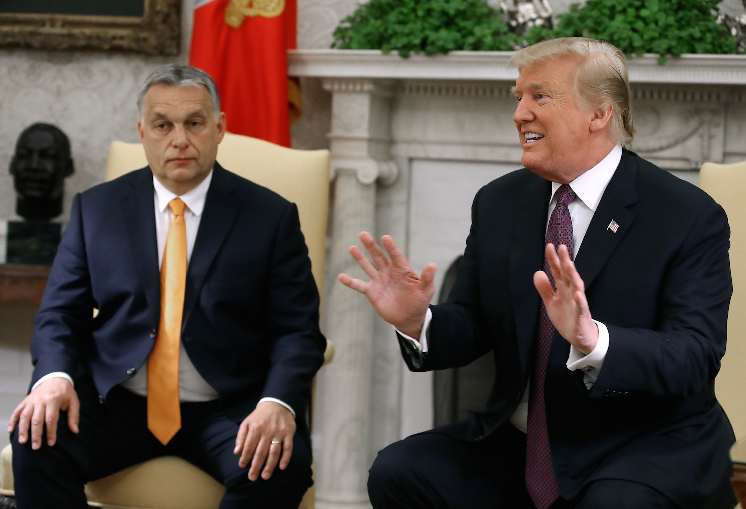 WASHINGTON, DC - MAY 13: U.S. President Donald Trump speaks to the media during a meeting with Hungarian Prime Minister Viktor Orban, in the Oval Office on May 13, 2019 in Washington, DC. President Trump took questions on trade with China, Iran and other topics. (Photo by Mark Wilson/Getty Images)