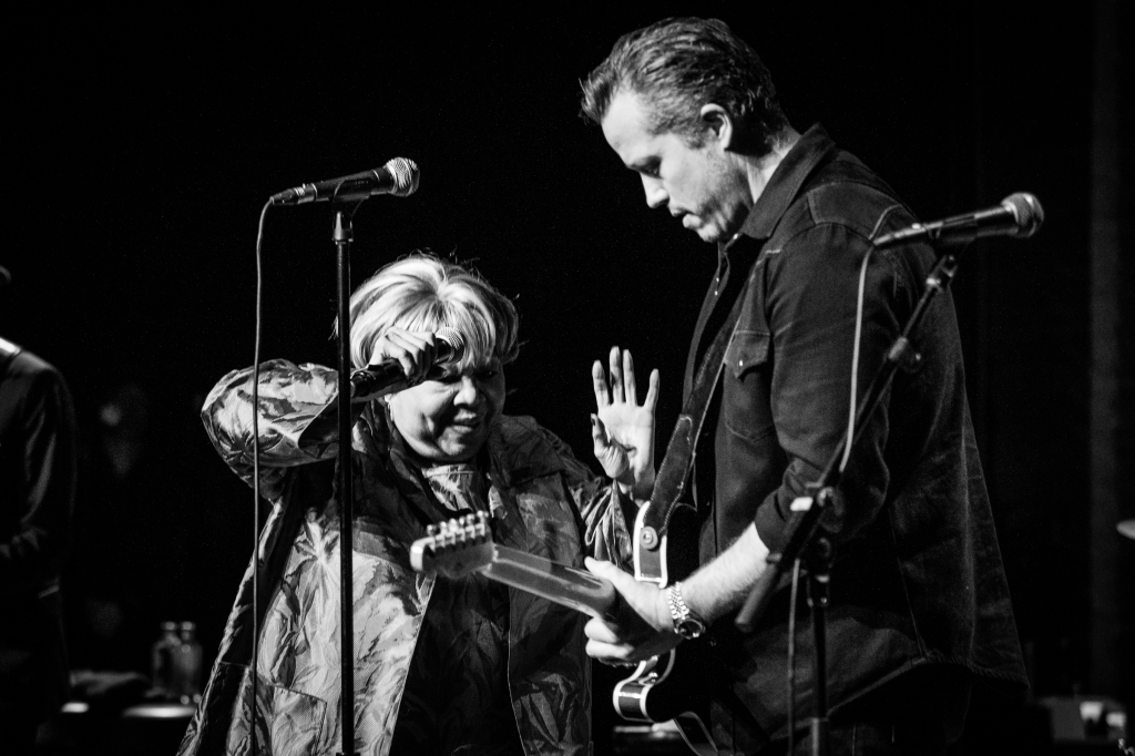 Mavis Staples and Jason Isbell perform at the Apollo Theater in New York. Photograph by Griffin Lotz for Rolling Stone