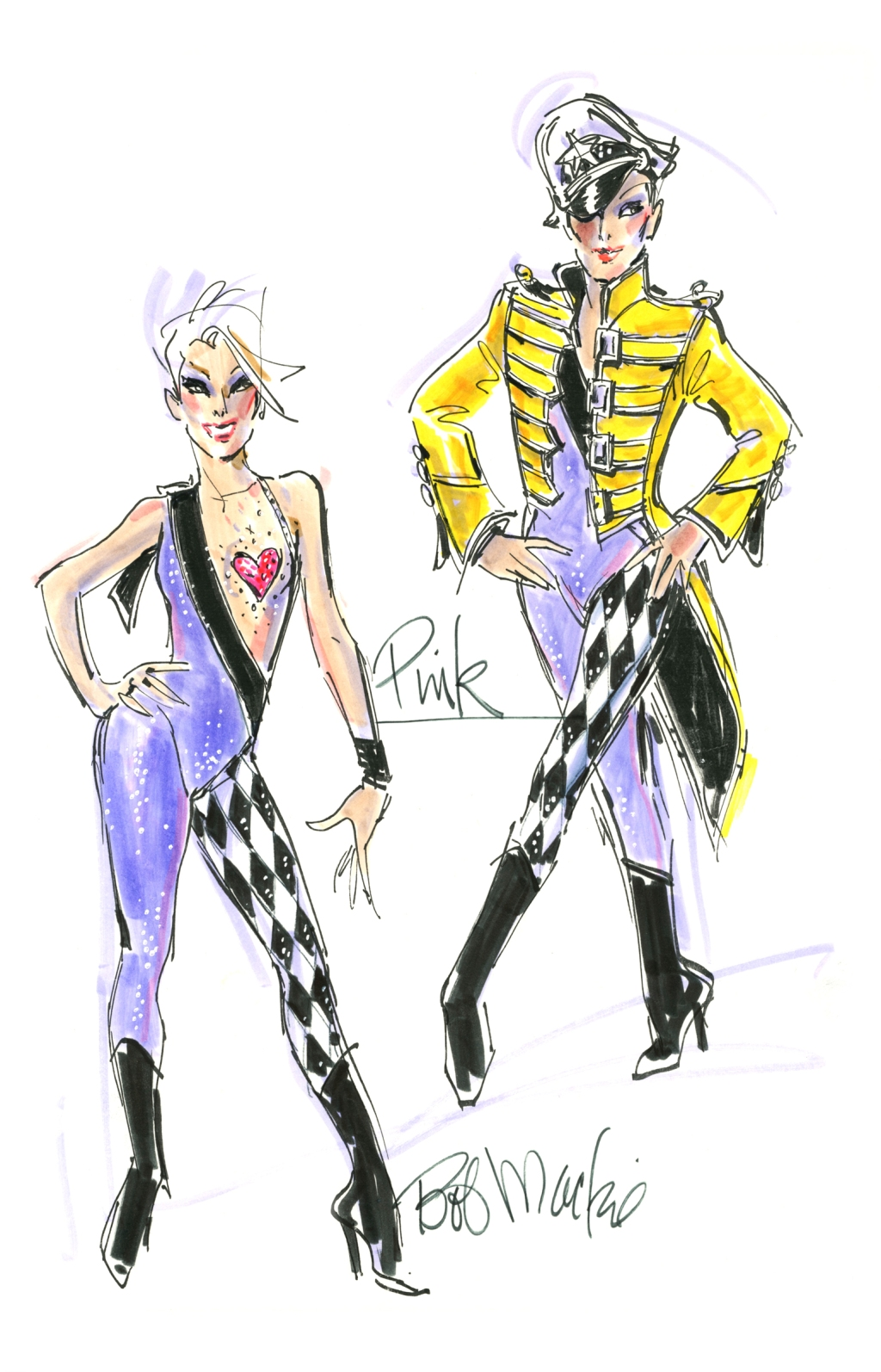 """""""She did a whole medley as a tribute to Queen and Freddie Mercury. I looked at some of the things he wore and was inspired. He had a jacket very similar to that and he had the harlequin black-and-white print on another outfit. It was a combination. Then, of course, she probably got up in the trapeze and did a whole wild kind of trapeze thing that she does. """"Later in the act, she put on a huge, black-and-white ostrich feather skirt. It was a whole outfit that kept changing and moving as it went through the act."""""""