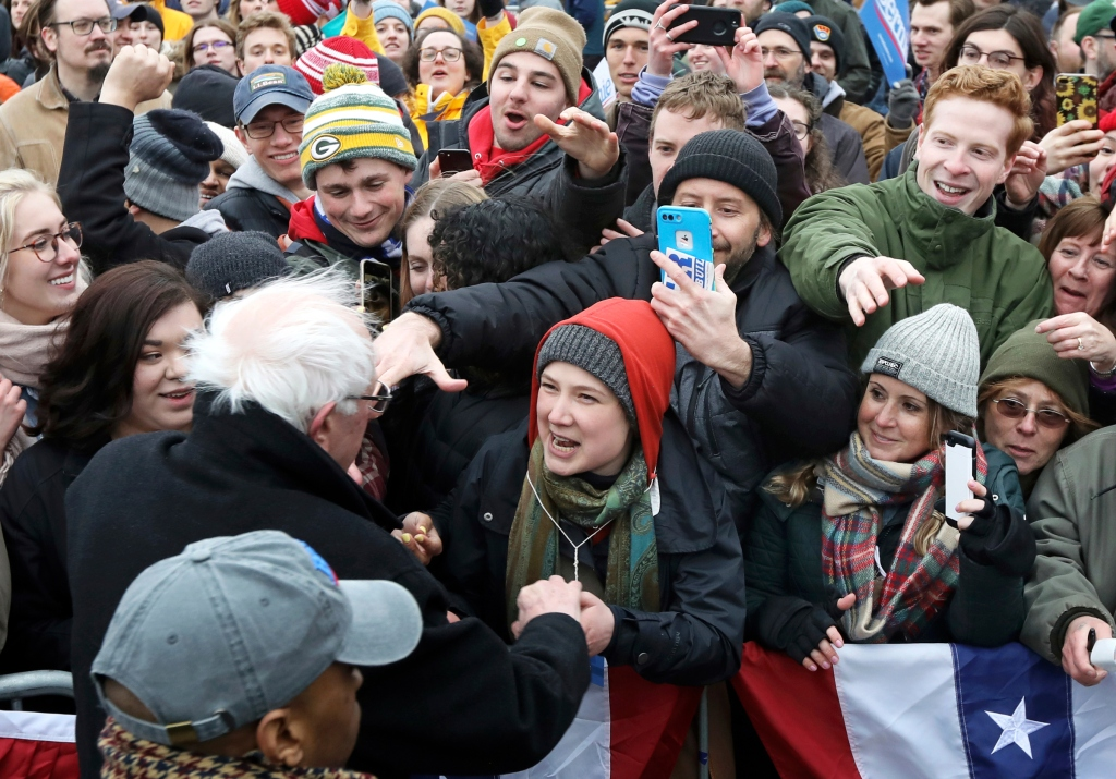Democratic presidential candidate Sen. Bernie Sanders, I-Vt., greets supporters after speaking at James Madison Park in Madison, Wis., Friday, April 12, 2019. (Amber Arnold/Wisconsin State Journal via AP)