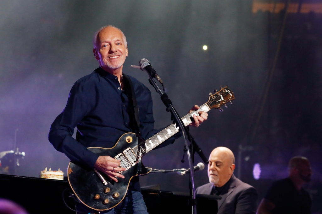 "NEW YORK, NY - MAY 09: Peter Frampton joins Billy Joel on ""Show Me The Way"" and ""Baby I Love Your Way"" on Joel's 70th birhtday and his 64th consecutive sold out show of his residency at Madison Square Garden on May 9, 2019 in New York City. (Photo by Myrna M. Suarez/Getty Images)"