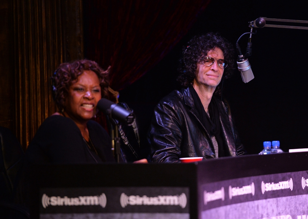 NEW YORK, NY - APRIL 28: Robin Quivers and Howard Stern speak at SiriusXM's Town Hall with Billy Joel hosted by Howard Stern at The Cutting Room on April 28, 2014 in New York City. (Photo by Mike Coppola/Getty Images for SiriusXM)