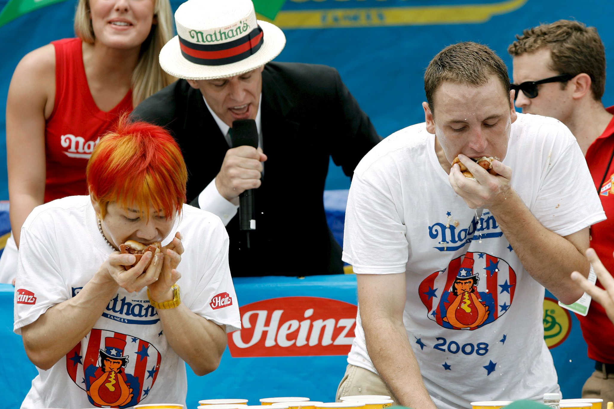 brand new d6590 04552 Joey Chestnut (r) and Takeru Kobayashi Eat Hotdogs at Nathan s Hotdog  Eating Contest in