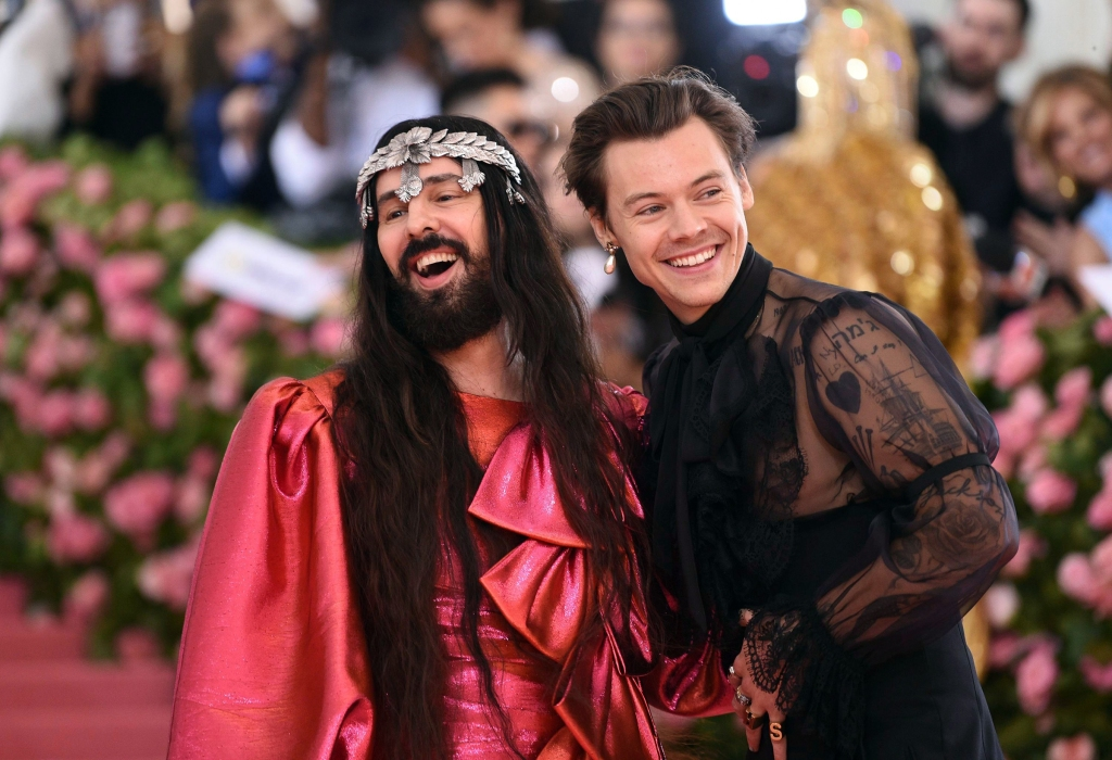 Harry Styles, right, and designer Alessandro Michele attend The 2019 Met Gala Celebrating Camp: Notes on Fashion at Metropolitan Museum of Art on May 06, 2019 in New York City.