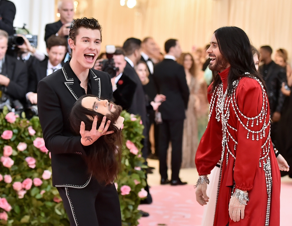 Shawn Mendes and Jared Leto attend The 2019 Met Gala Celebrating Camp: Notes on Fashion at Metropolitan Museum of Art on May 06, 2019 in New York City.