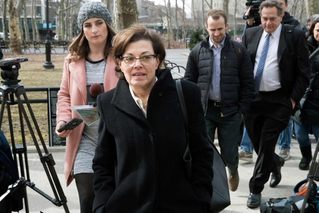 Nancy Salzman, center, arrives at Brooklyn federal court, in New York. Salzman, a co-founder of NXIVM, an embattled upstate New York self-help organization, is expected to plead guilty in a case featuring sensational claims that some followers became branded sex slavesBranded Women, New York, USA - 13 Mar 2019