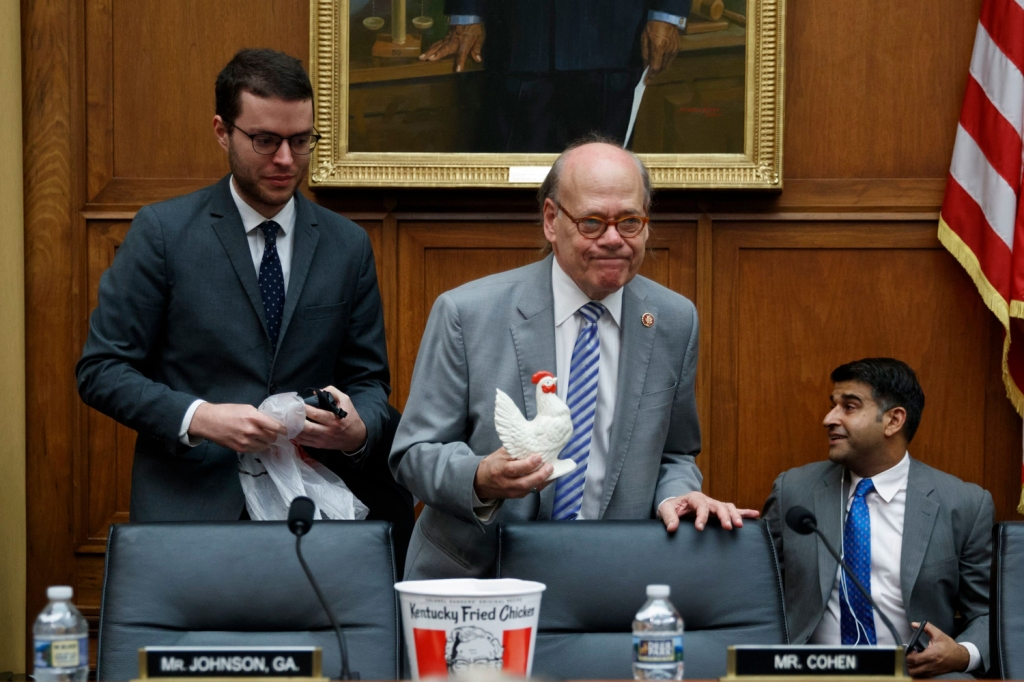 Attorney General William Barr bailed on testifying before the House Judiciary Committee on Thursday. Rep. Steve Cohen (D-TN) brought some chicken to replace him.