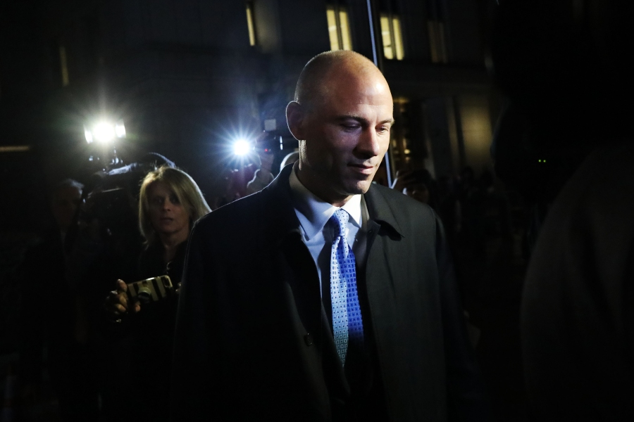 NEW YORK, NEW YORK - MARCH 25: Michael Avenatti, the former lawyer for adult film actress Stormy Daniels, exits a New York court after being arrested for allegedly trying to extort Nike for up to $25 million on March 25, 2019 in New York City. Avenatti is also facing possible embezzlement charges in a separate case in California. (Photo by Spencer Platt/Getty Images)