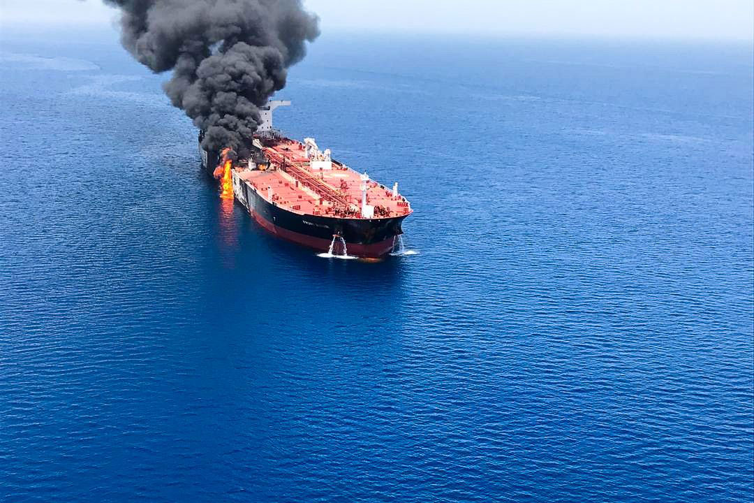 The crude oil tanker Front Altair on fire in the Gulf of Oman, 13 June 2019. According to the Norwegian Maritime Authority, the Front Altair is currently on fire in the Gulf of Oman after allegedly being attacked and in the early morning of 13 June between the UAE and Iran.Crude oil tanker on fire in Gulf of Oman - 13 Jun 2019