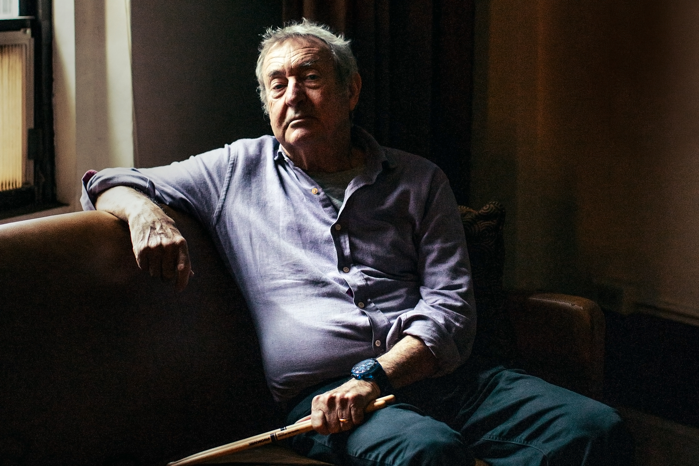 Nick Mason backstage at the Beacon Theater in New York, April 2019.