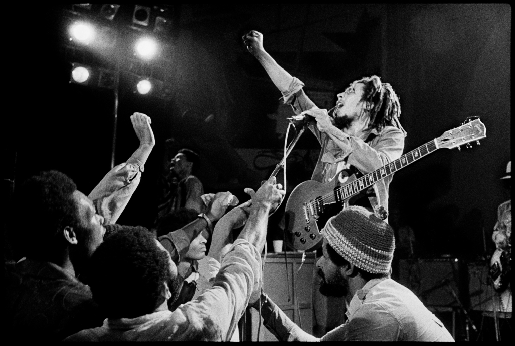 """It was July 1975 and everybody, the rock music establishment, was there to see Bob Marley. It was a watershed moment for Bob, and for me because he became a real focus (of my work). In 1976 I went down to Jamaica and shot the Kaya cover, then I went on the road with him during the Exodus Tour in 1977. But that show where this image is from, it really evokes the spirit of that concert."""