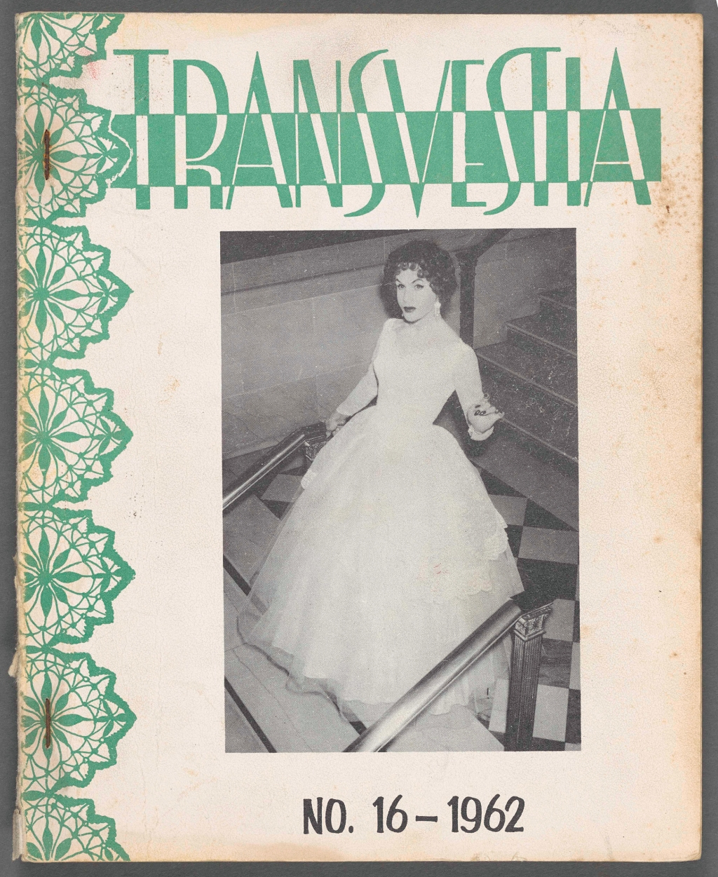 """Throughout the 1960s, magazines were popping up across the queer spectrum. Transvestia's target audience was people who identified as heterosexual crossdressers. Readers sent in photos of themselves crossdressed and wrote about their experiences trying to manage their cross-dressing and their heterosexual relationships. The magazine's editor, Virginia Prince, wrote her own story in the magazine, titled """"The How and Why of Virginia."""" She explained that when she came out to her first wife as a crossdresser named Muriel, her wife asked for a divorce, convinced that her husband was certainly gay. When she met her second wife, as a heterosexual man, she cautiously came out to her as Muriel. """"One morning about 4 a.m. I was awakened by a phone call. It was she and the first thing she said was, 'I understand!'"""" she wrote. The only caveat: she hated the name Muriel. """"So Virginia has been my name ever since."""""""