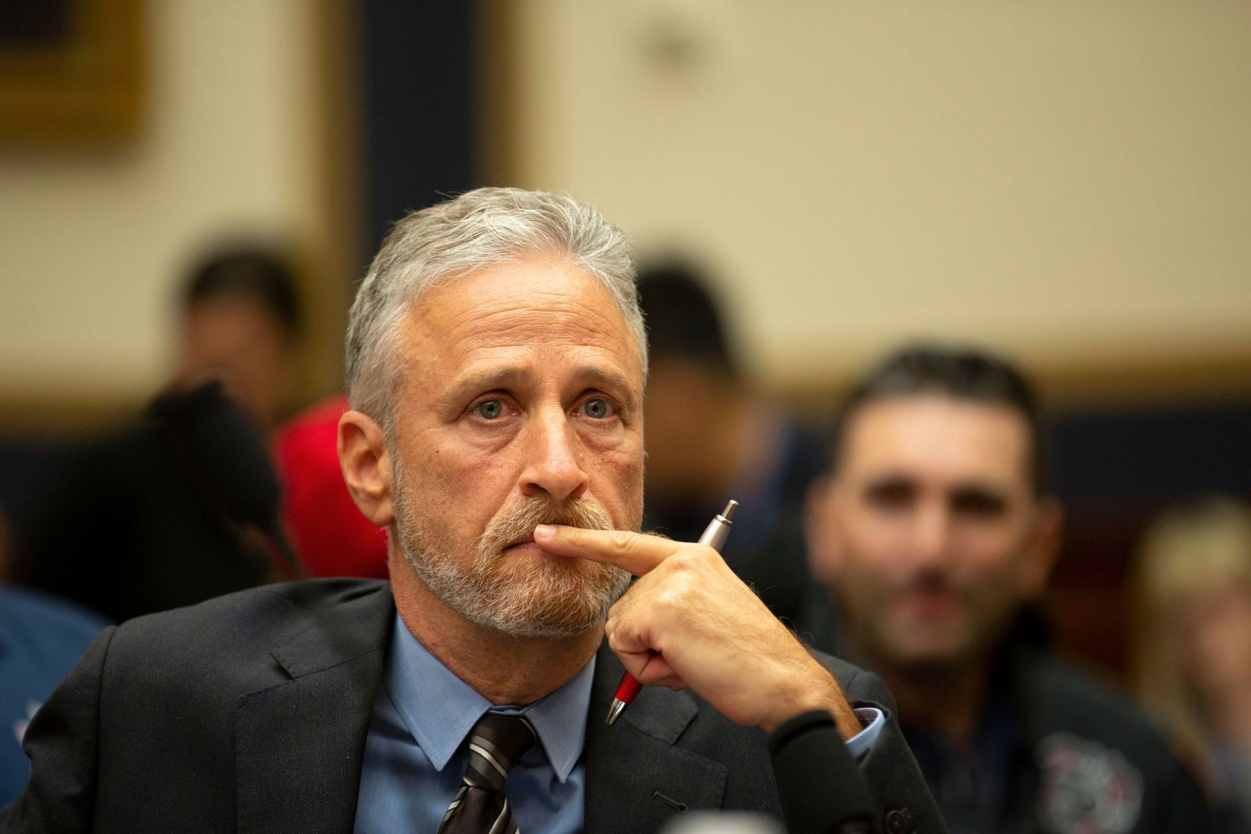 Jon Stewart gets emotional at a hearing on the 9-11 Victims fund before the Judiciary subcommittee9/11 Victims Fund Hearing, Washington DC, USA - 11 Jun 2019