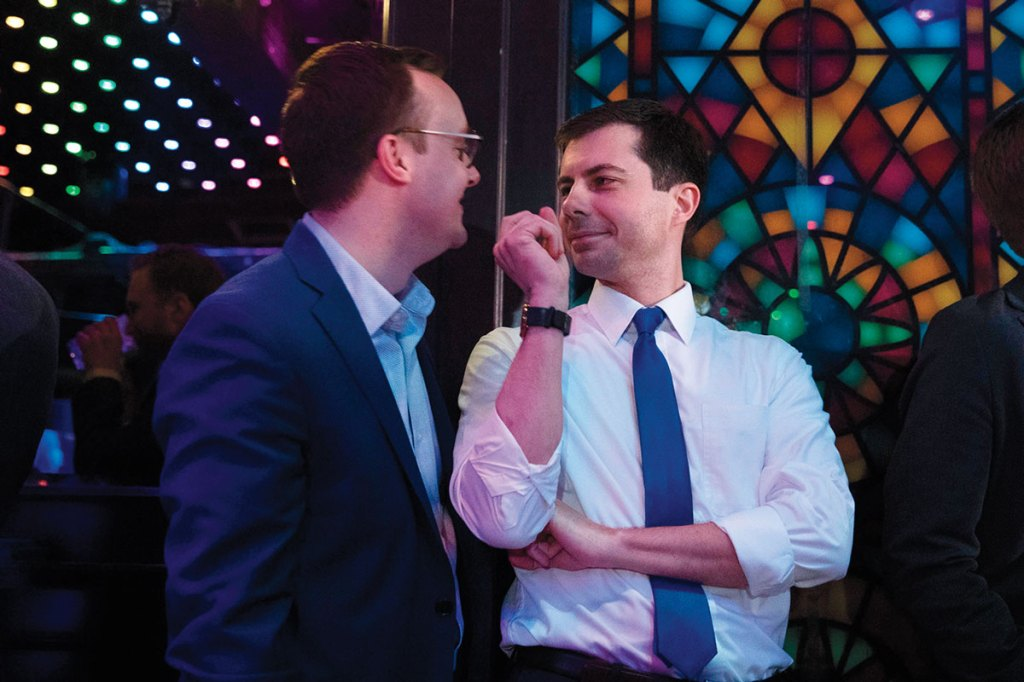 Pete Buttigieg, Chasten Glezman. Democratic presidential candidate Pete Buttigieg, right, shares a light moment with husband, Chasten Glezman, while waiting to be introduced at a campaign event, in West Hollywood, CalifElection 2020 Pete Buttigieg, West Hollywood, USA - 09 May 2019