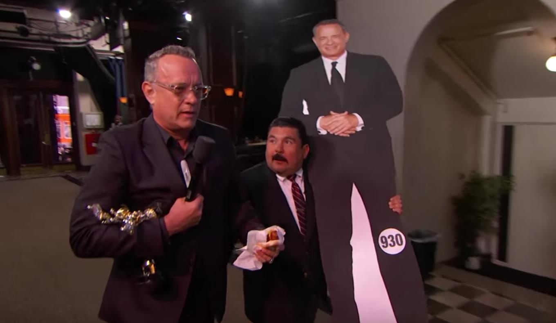 Watch Tom Hanks Steal a Cardboard Cutout of Himself on 'Kimmel'