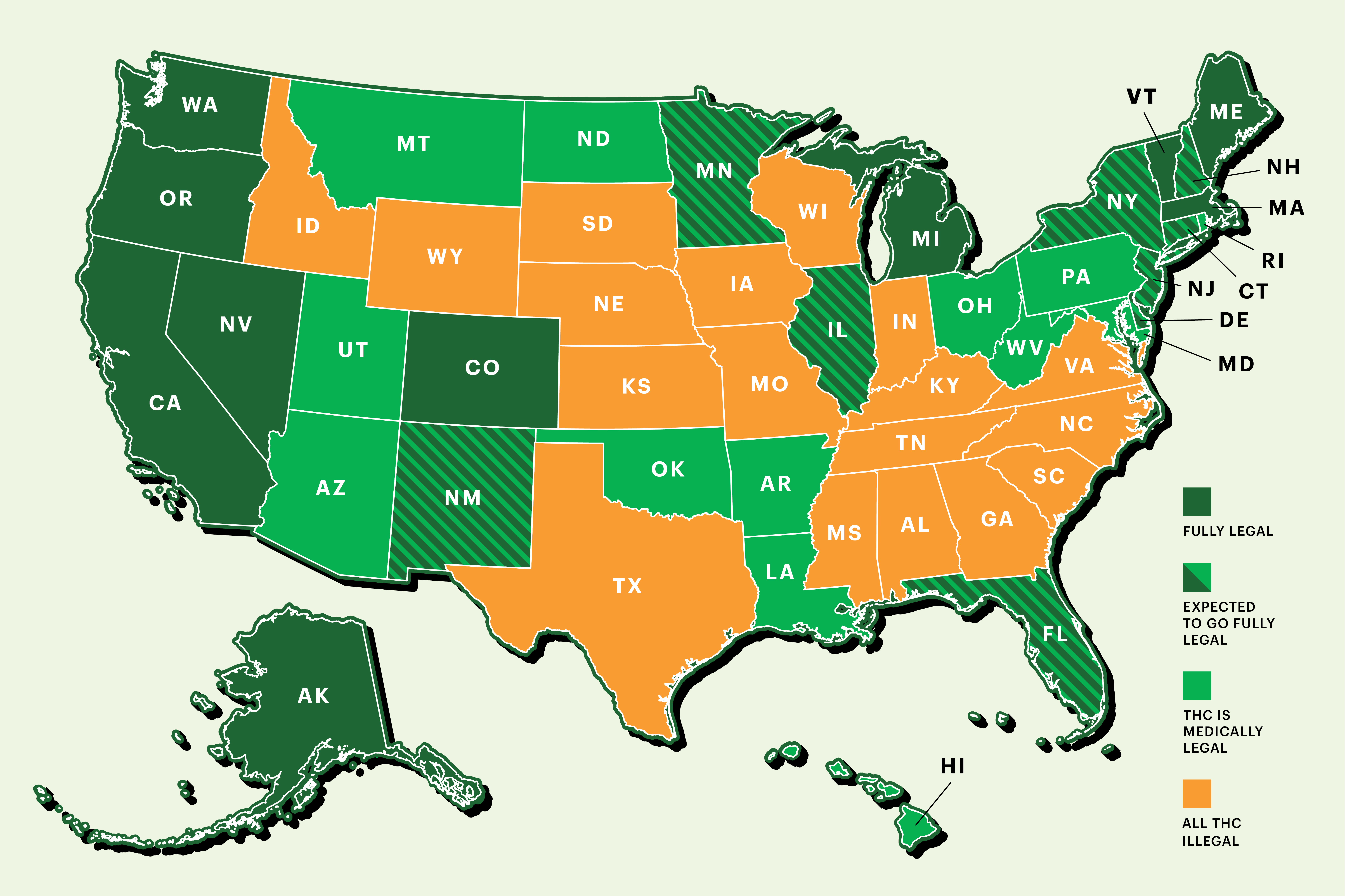 Recreational Weed States Map Weed Map: Status of Pot Legalization Across America   Rolling Stone